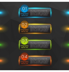Glowing glass infographics options vector image