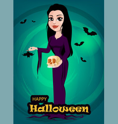 Halloween beautiful lady witch in gothic style vector