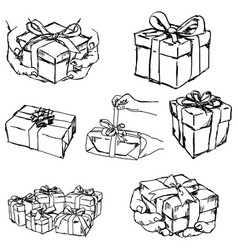 Hand holding or offering gift or present vector