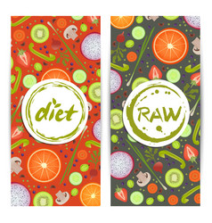 Healthy diet vertical flyers set vector