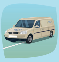 isolated mail truck with parcels vector image