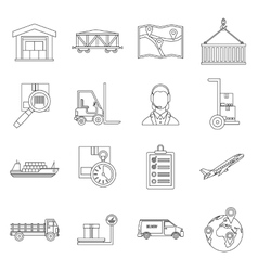 Logistic icons set outline style vector image vector image