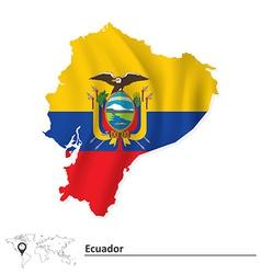 Map of ecuador with flag vector