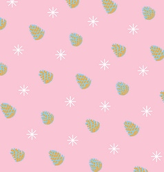 Pattern of pinecones and snowflakes vector