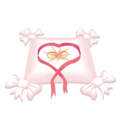 pillow with wedding rings and red heart ribbon vector image vector image