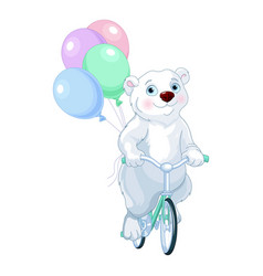 Polar bear riding a bicycle with balloons vector
