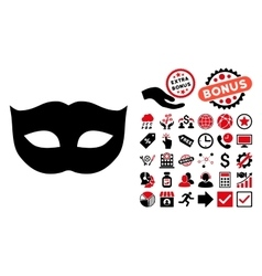Privacy Mask Flat Icon with Bonus vector image