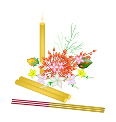 Red Ixora Flowers with Joss Sticks and Candle vector image vector image