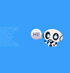 Robot chatter bot say hi over circuit background vector