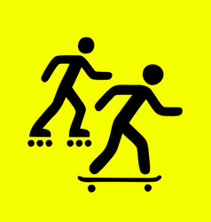 rollers and skateboarders sign vector image