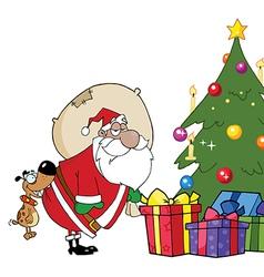Santa delivering presents cartoon vector image