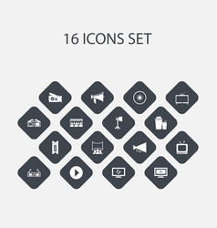 Set of 16 editable cinema icons includes symbols vector