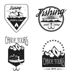 Set of vintage fishing labels vector image