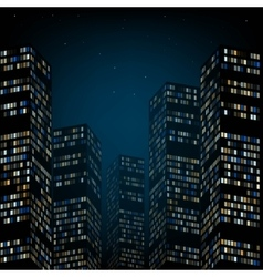 Skyscrapers and the night sky vector image
