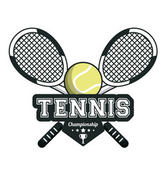 Tennis sport rackets crossed ball emblem image vector