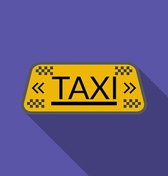 Flat design taxi icon with long shadow vector