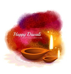 happy diwali colorful design with diya in vector image
