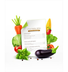 menu pattern with vegetables carrots cabbage vector image