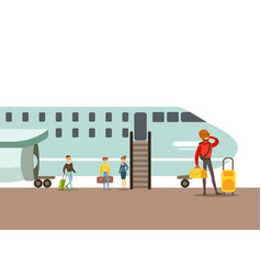 Passengers boarding a plane part of people taking vector