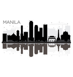 manila city skyline black and white silhouette vector image