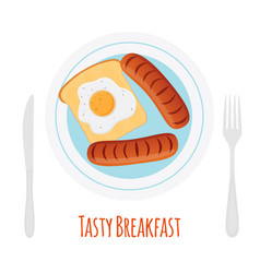 Healthy breakfast - sausage egg toast vector