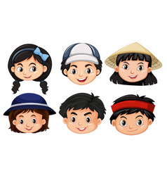 Different faces of asain kids vector