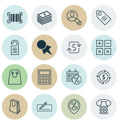 Set of 16 ecommerce icons includes money transfer vector