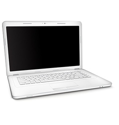 Silver laptop with black blank screen vector