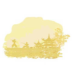 Old paper with samurai silhouette on asian vector
