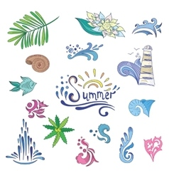 Colorful sketch style summer icons vector