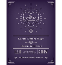 Vintage wedding invitation design vector