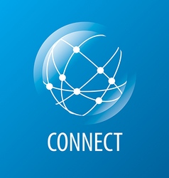 Logo to connect to the global network vector