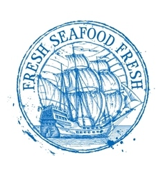 Fresh seafood logo design template shabby vector