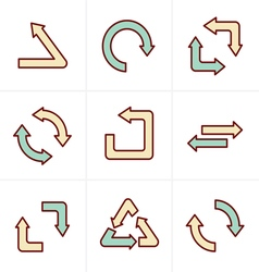 Icons style simple flat design recycle symbols in vector