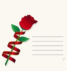 red rose on paper background vector image
