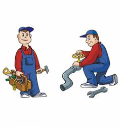 Plumber with tools vector