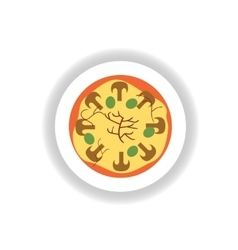 Stylish paper sticker pizza with mushrooms and vector