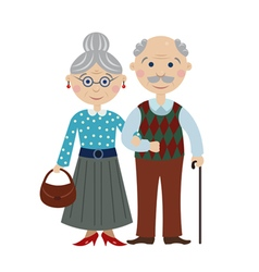 Happy cartoon grandparents vector