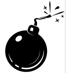 Black bomb icon with burning wick vector