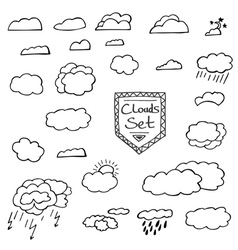 Set of hand drawn doodle clouds vector