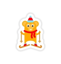 Paper sticker on white background monkey skiing vector