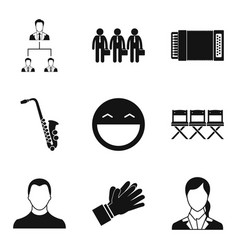 audition icons set simple style vector image vector image