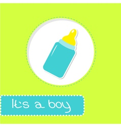 Baby boy bottle Shower card vector image