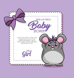 baby shower card with mouse vector image vector image