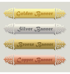 Beautiful metallic floral beveled banners set vector