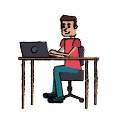 Cartoon guy laptop desk workplace vector