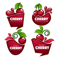 collection of fresh juice stickers and cherry vector image