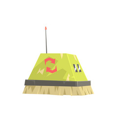 Cute cartoon robot brush cleaner character vector