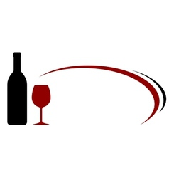 decorative background with wine bottle and glass vector image vector image