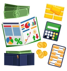 Dollar bills calculator leather wallet and gold vector